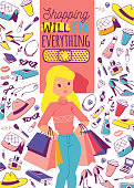 Accessories and shoes for young girls vetor illustration. Woman stuff banner, poster. Shopping will fix everything. Cute girl with shopping bags. Cosmetics, toiletry, bags, shoes.