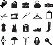 accessories black and white royalty free vector icon set