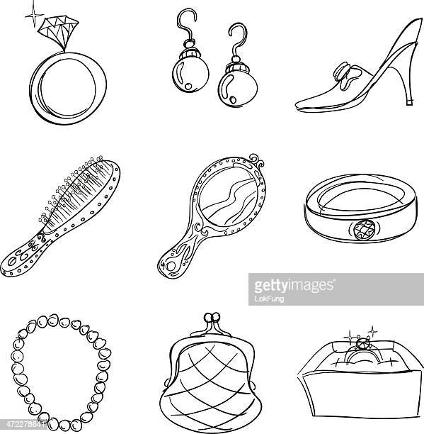 accessories collection in sketch style - pearl necklace stock illustrations