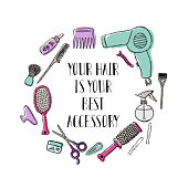 Accessories for the hairdresser s. Motivational quote Your hair is your best accessory