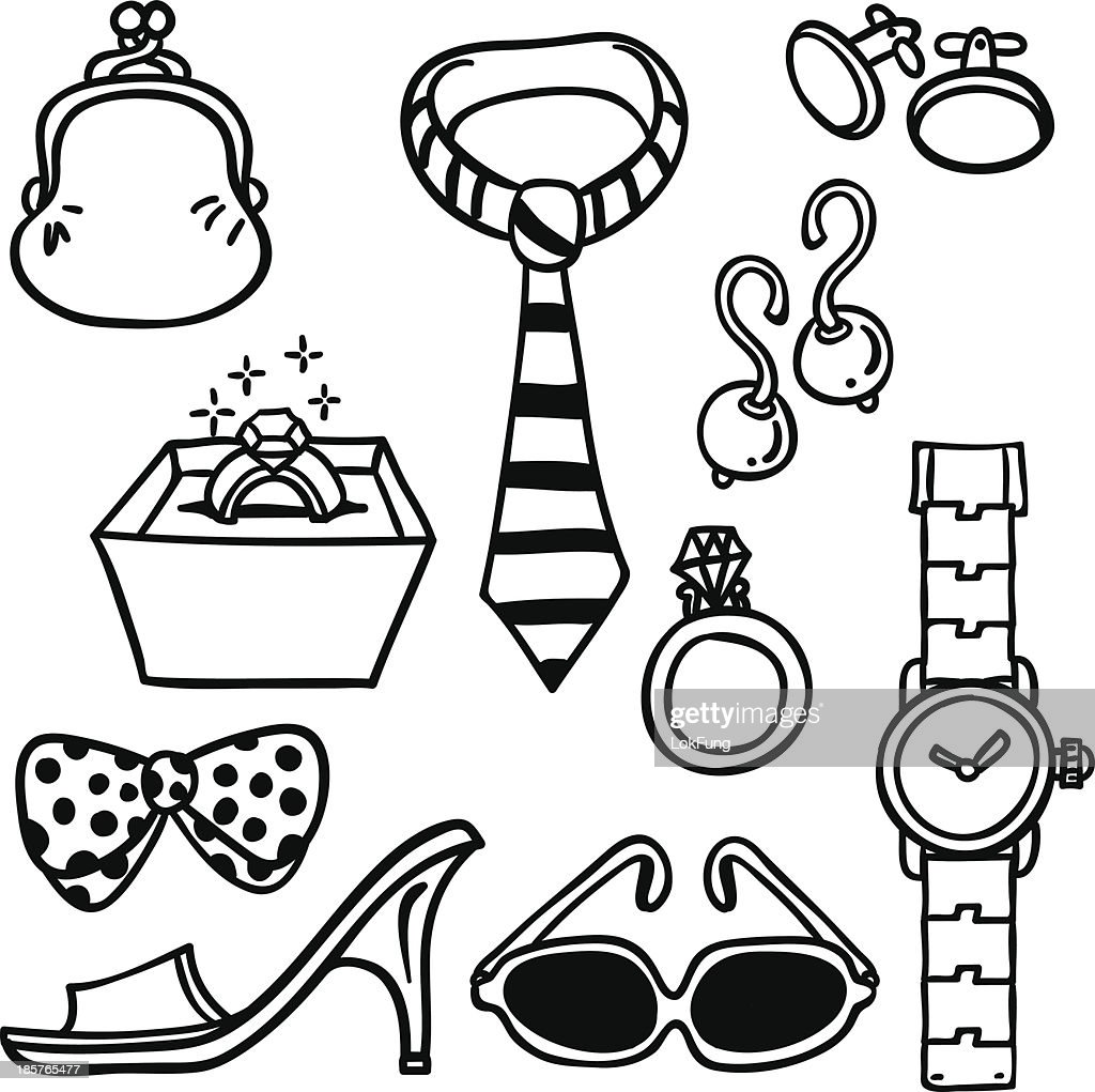 Accessories illustration in black and white