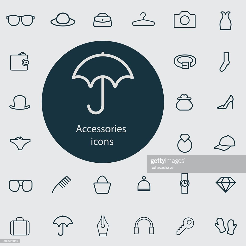 accessories outline, thin, flat, digital icon set