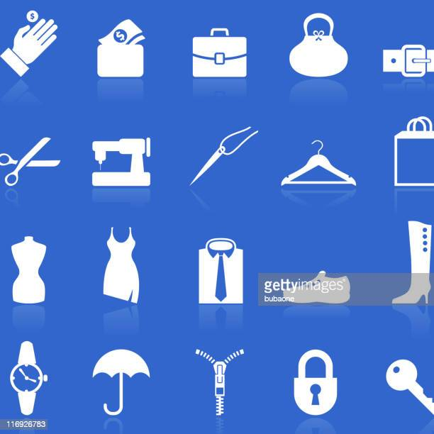 accessories repair royalty free vector icon set in knockout white - leather belt stock illustrations