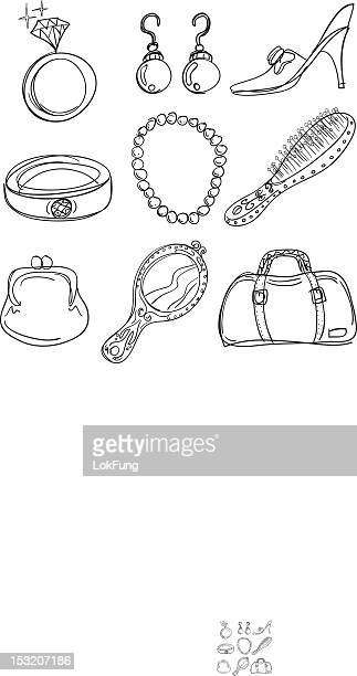 accessory collection in black and white - necklace stock illustrations, clip art, cartoons, & icons