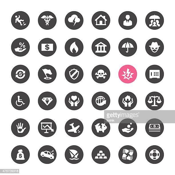 vector iconos de seguros de accidente y