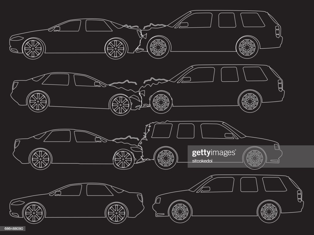 Accident Car Icons Hand Drawing Vector Art | Getty Images