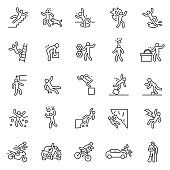 Accident, icon set. Falls, blows, car accidents, injury, etc. People pictogram. Editable stroke