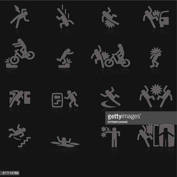 accident icon - occupational health stock illustrations, clip art, cartoons, & icons