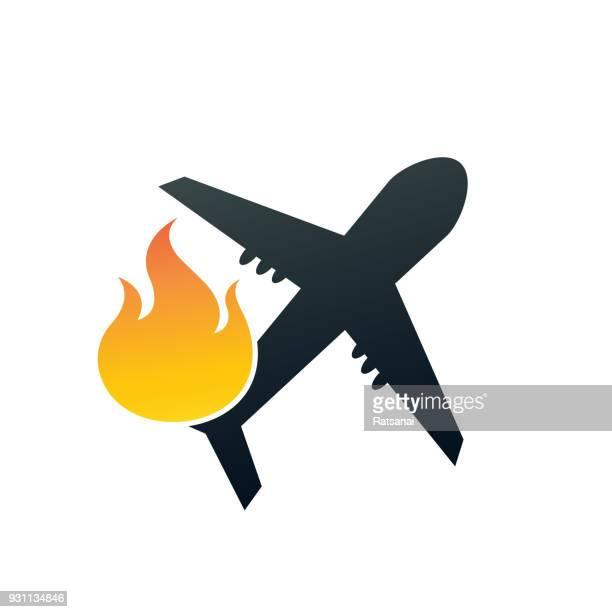 illustrations, cliparts, dessins animés et icônes de plan de l'accident - catastrophe aérienne