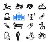 Accidents and life insurance for hospital treatment icon concept. How to medicare with doctor.