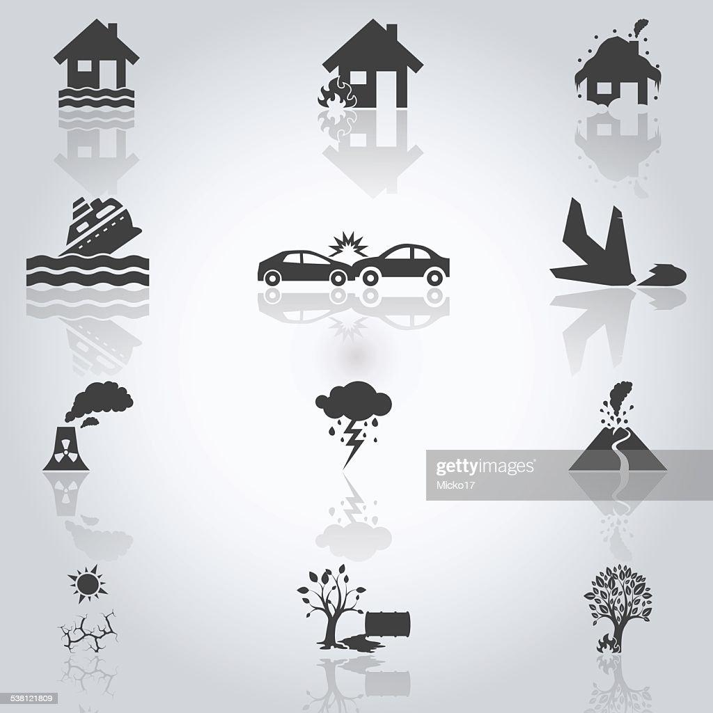 Accidents icons set