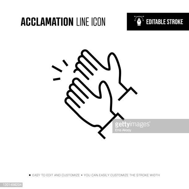 akklamationsliniensymbol - bearbeitbarer strich - autorität stock-grafiken, -clipart, -cartoons und -symbole