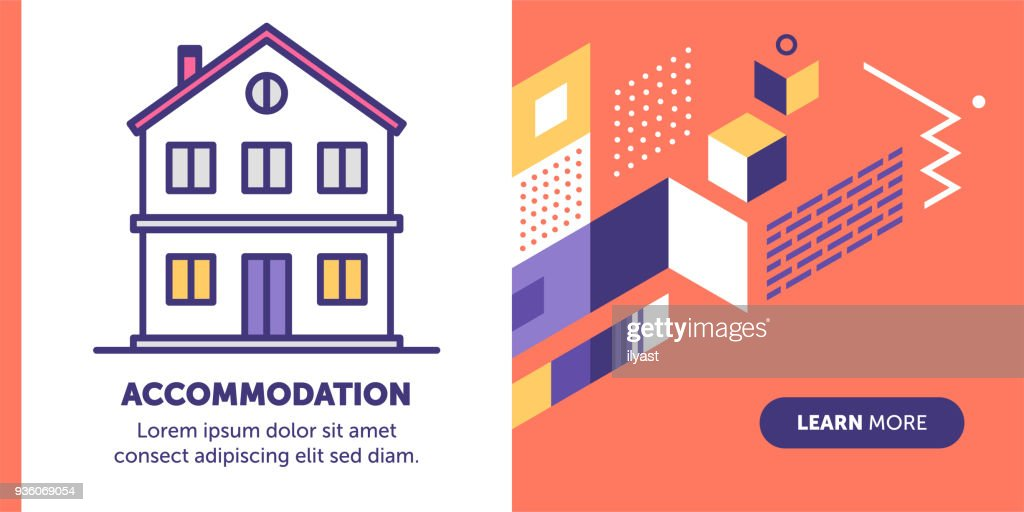 Accommodation Banner : stock illustration