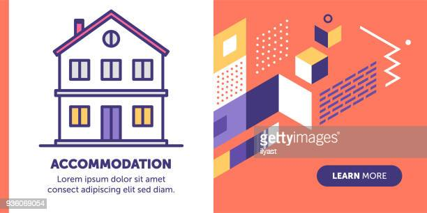 accommodation banner - house exterior stock illustrations, clip art, cartoons, & icons