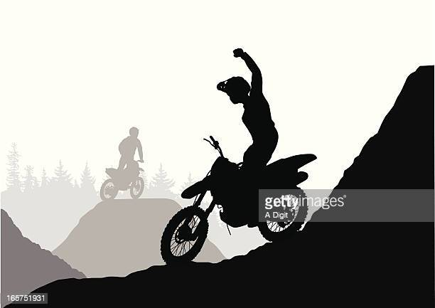 accomplishment vector silhouette - motocross stock illustrations, clip art, cartoons, & icons