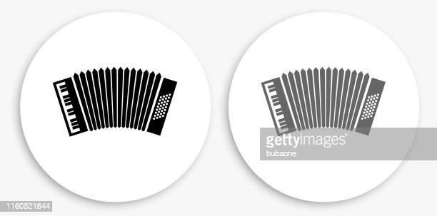 accordion black and white round icon - accordion stock illustrations