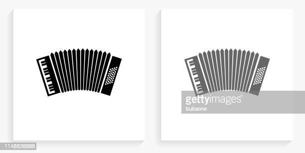 accordion black and white square icon - accordion stock illustrations