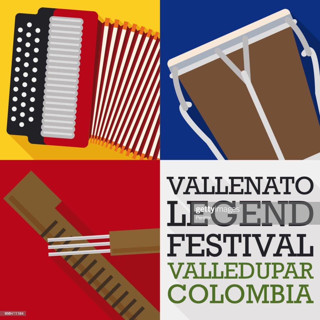 Accordion, Caja and Guacharaca in Flat Style for Vallenato Festival