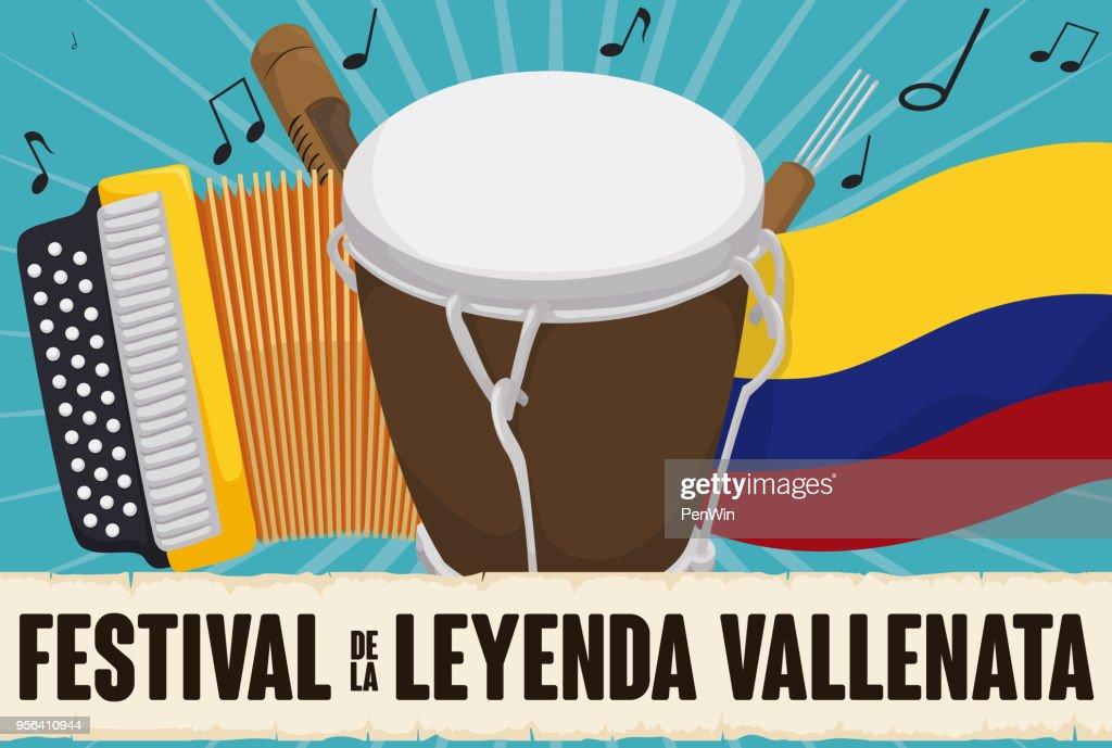 Accordion, Caja, Guacharaca, Colombian Flag and Scroll for Vallenato Festival