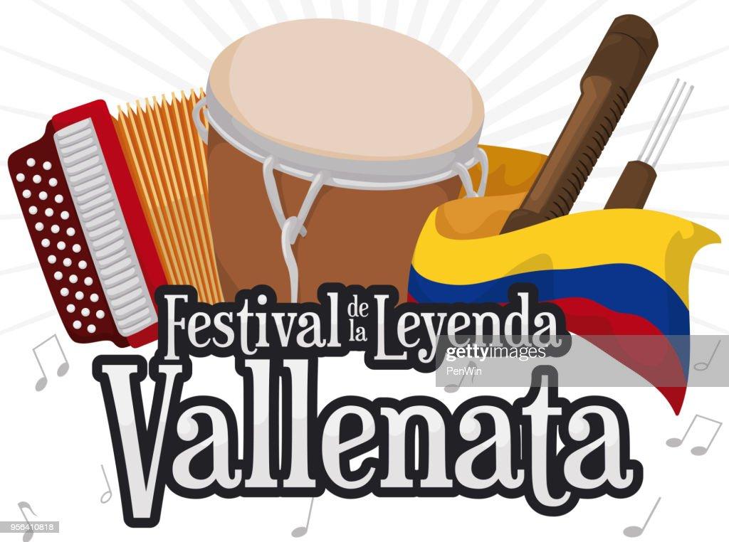 Accordion, Caja Vallenata, Guacharaca and Flag for Vallenato Legend Festival