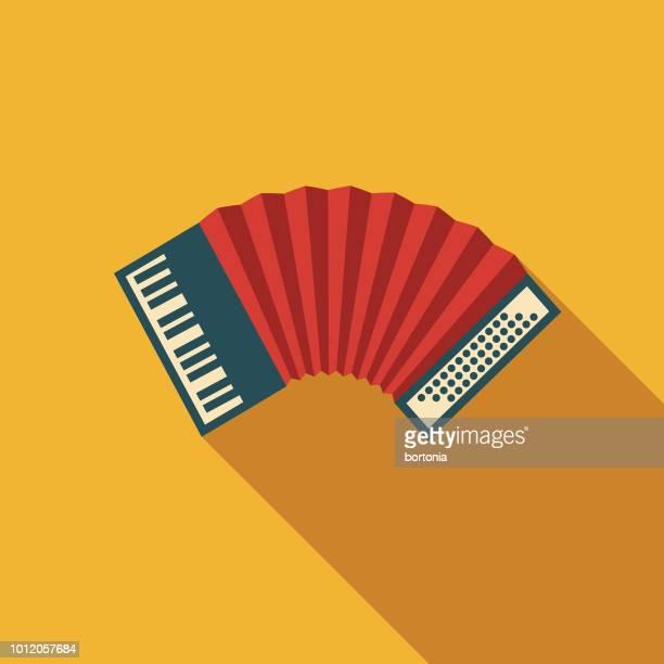 accordion flat design germany icon - accordion instrument stock illustrations