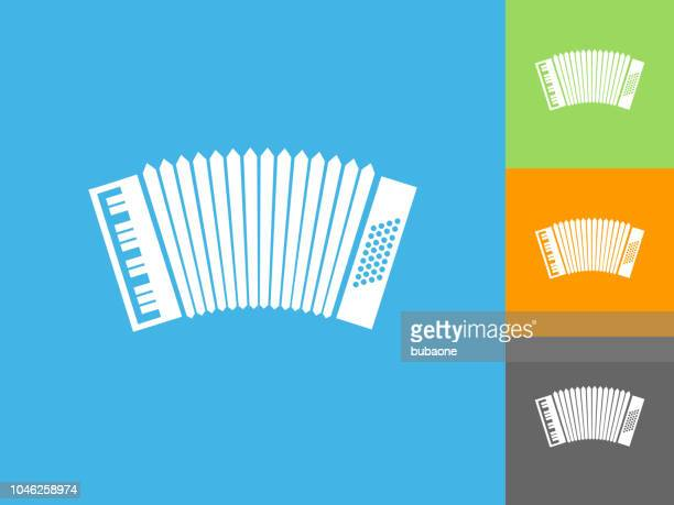 accordion flat icon on blue background - accordion stock illustrations