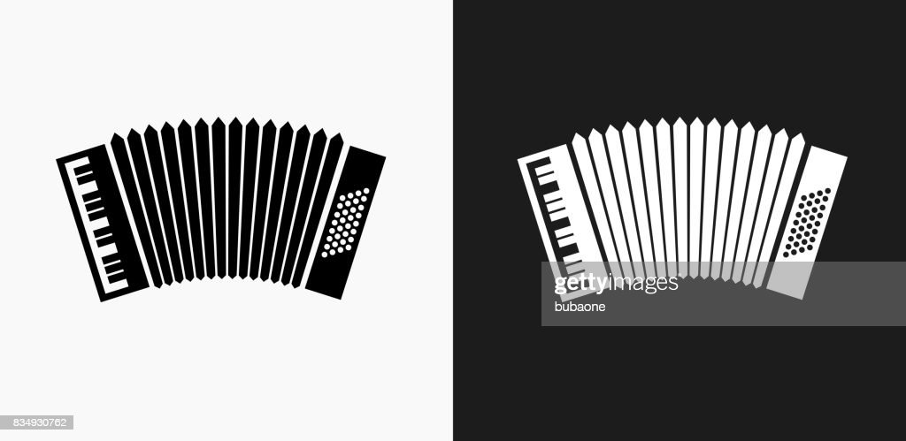 Accordion Icon on Black and White Vector Backgrounds