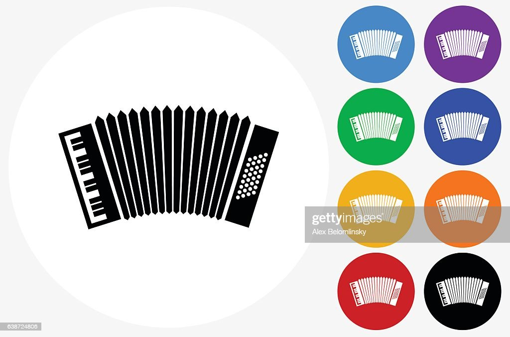 Accordion Icon on Flat Color Circle Buttons