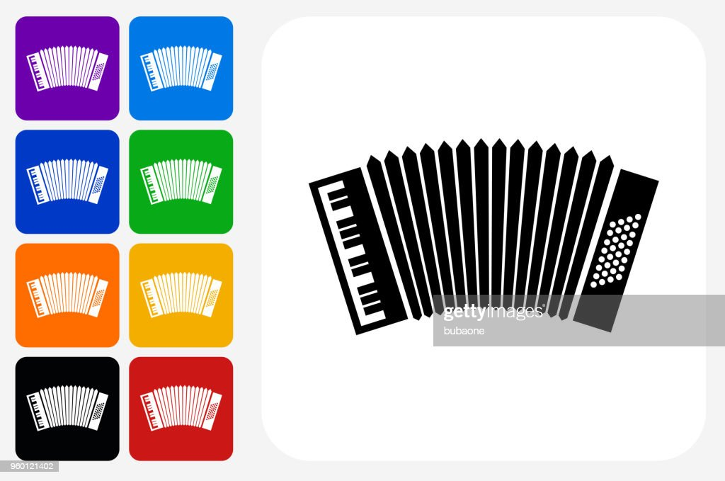 Akkordeon-Symbol Square Buttonset : Stock-Illustration