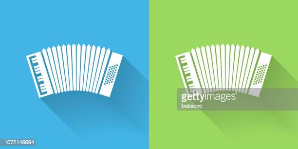 accordion icon with long shadow - accordion stock illustrations