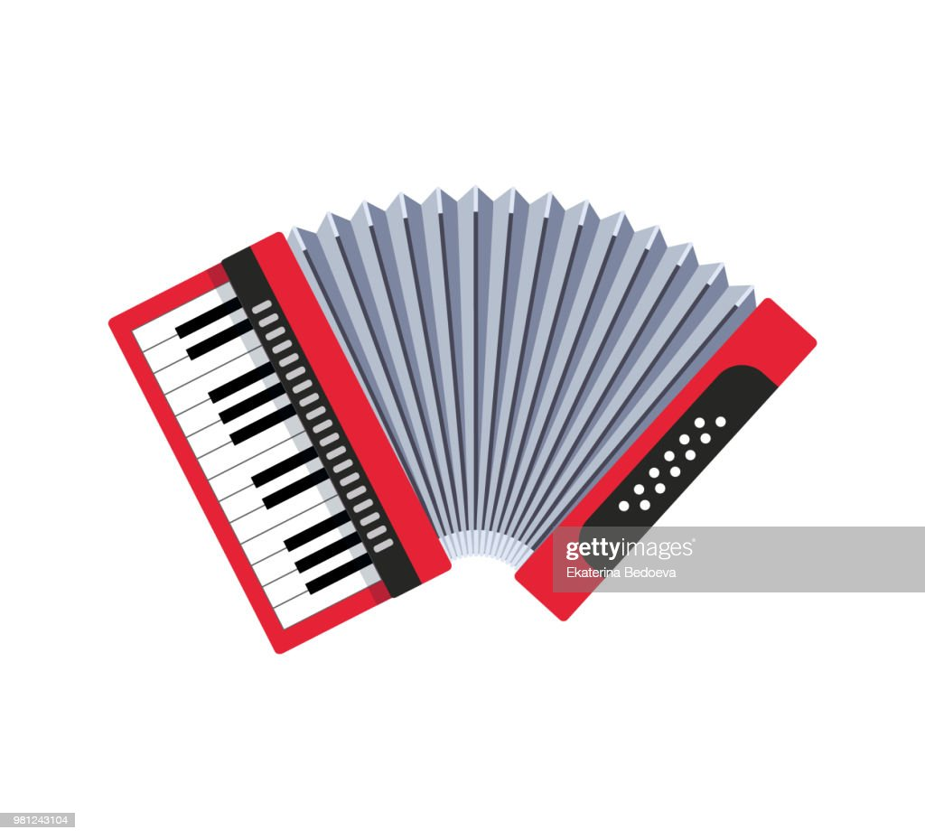 Accordion on white background. Classical keyboard musical instrument. Cute flat cartoon style.