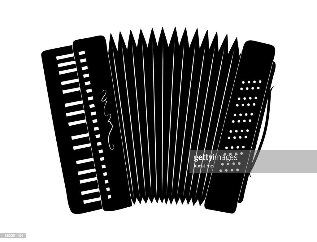 Accordion Silhouette, Music instrument,