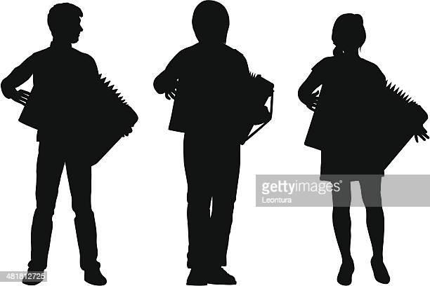 accordions - accordionist stock illustrations
