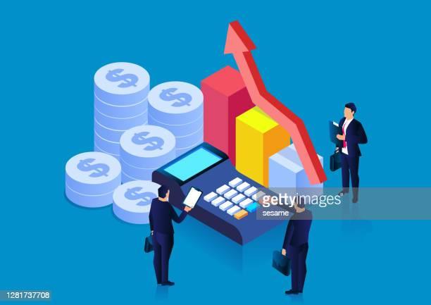 ilustraciones, imágenes clip art, dibujos animados e iconos de stock de contabilidad y análisis financiero, finanzas y economía, conceptos de gestión financiera, estadísticas y ventas - informe financiero