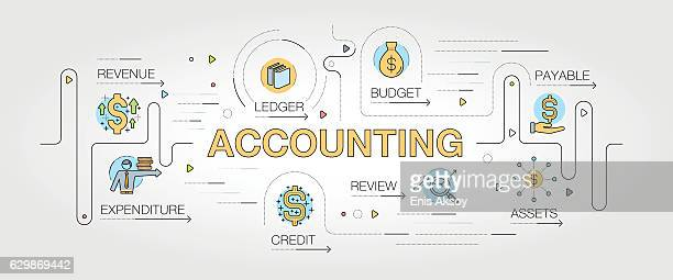 accounting banner and icons - accounting ledger stock illustrations, clip art, cartoons, & icons