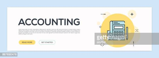 accounting concept - flat line web banner - accounting ledger stock illustrations, clip art, cartoons, & icons