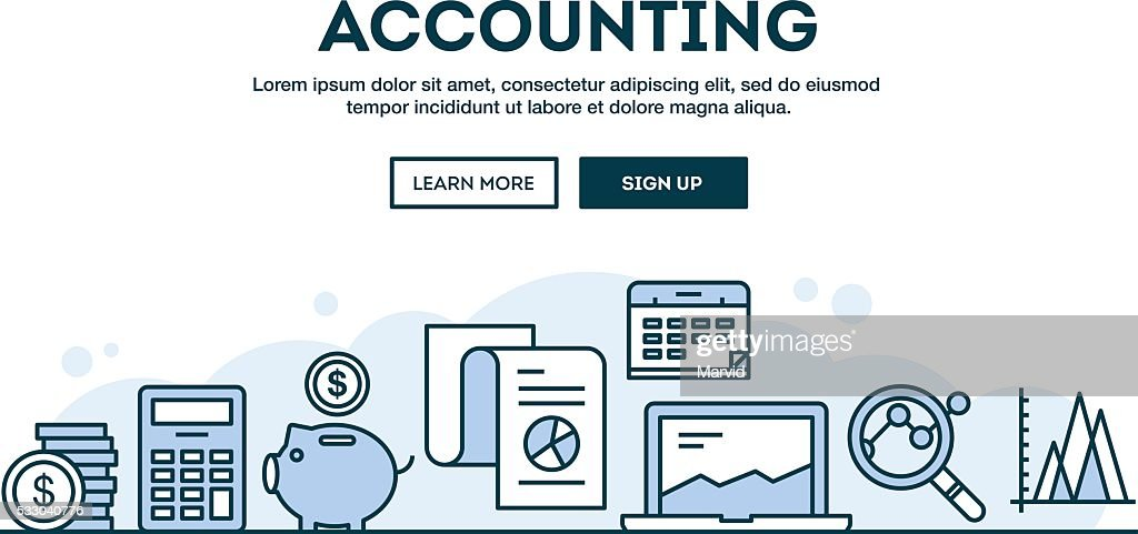 Accounting, concept header, flat design thin line style