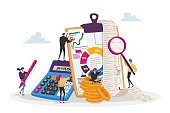 Accounting, Financial, Banking Data. Tiny Accountant Characters around of Huge Clip Board Filling Bookkeeping Charts