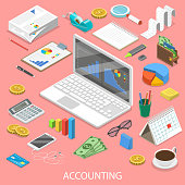 Accounting flat isometric vector concept.