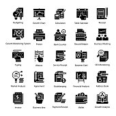 Accounting Glyph Icons Pack