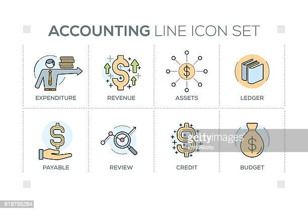 accounting keywords with line icons - accounting ledger stock illustrations, clip art, cartoons, & icons