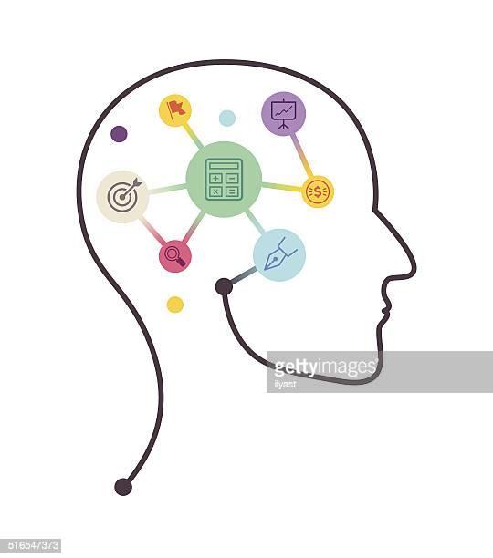stockillustraties, clipart, cartoons en iconen met accounting profile - menselijk hoofd