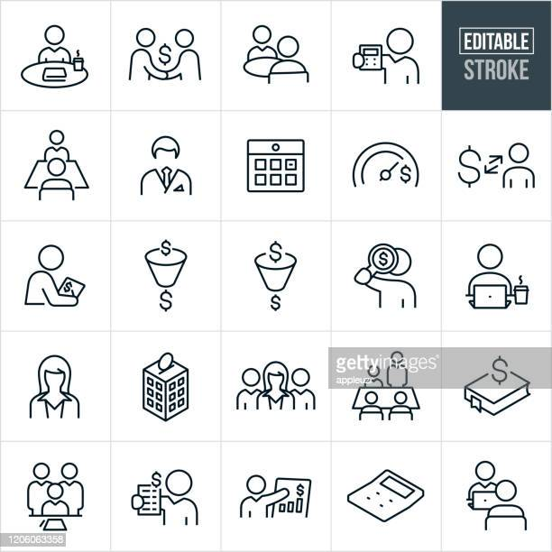 accounting thin line icons - editable stroke - board room stock illustrations