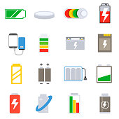 Accumulators and batteries icons set.