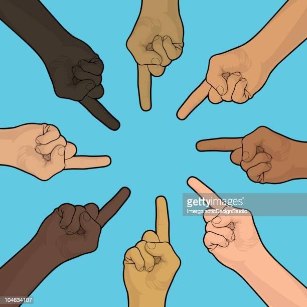 ilustraciones, imágenes clip art, dibujos animados e iconos de stock de acusaciones - discriminacion