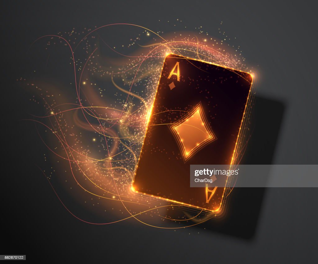 Ace card with fire effect, poker casino illustration. Vector illustration.