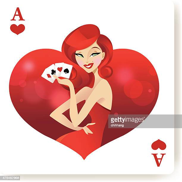 ace of babes (heart) - ace stock illustrations, clip art, cartoons, & icons