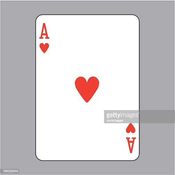 ace of hearts playing card (vector illustration) - ace stock illustrations, clip art, cartoons, & icons
