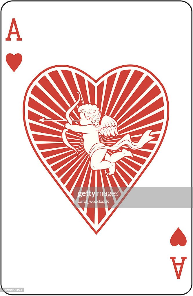 Ace Of Hearts With Cupid Playing Card Vector Art Getty Images