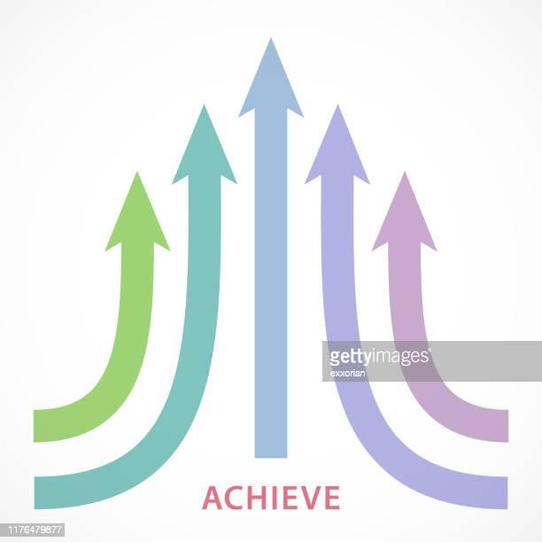 das ziel erreichen - liniendiagramm stock-grafiken, -clipart, -cartoons und -symbole